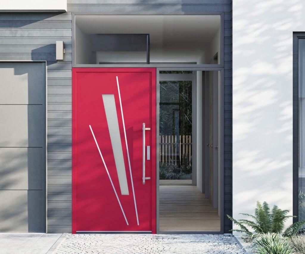 Czerwone drzwi zewnętrzne vetrex model unique