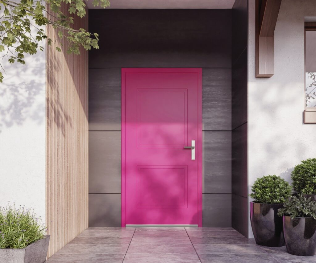 Różowe drzwi zewnętrzne vetrex model linearite
