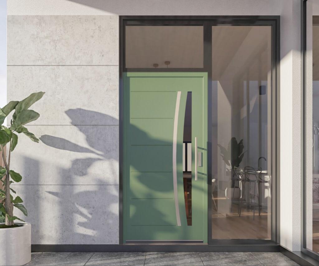 Zielone drzwi zewnętrzne vetrex model lune