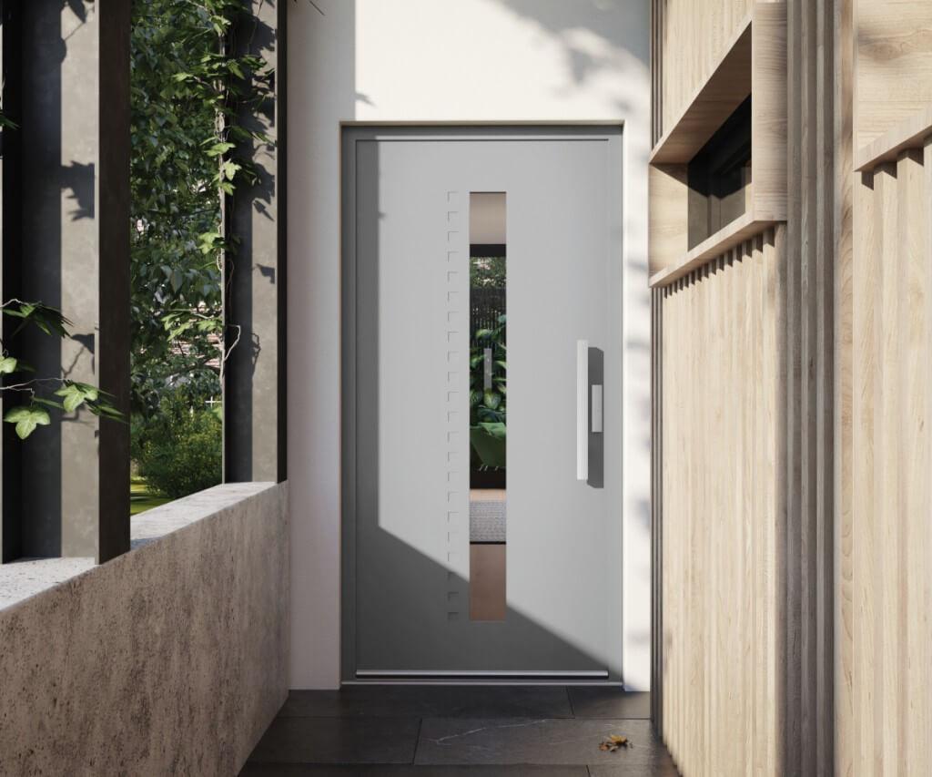 Szare drzwi zewnętrzne vetrex model saveur