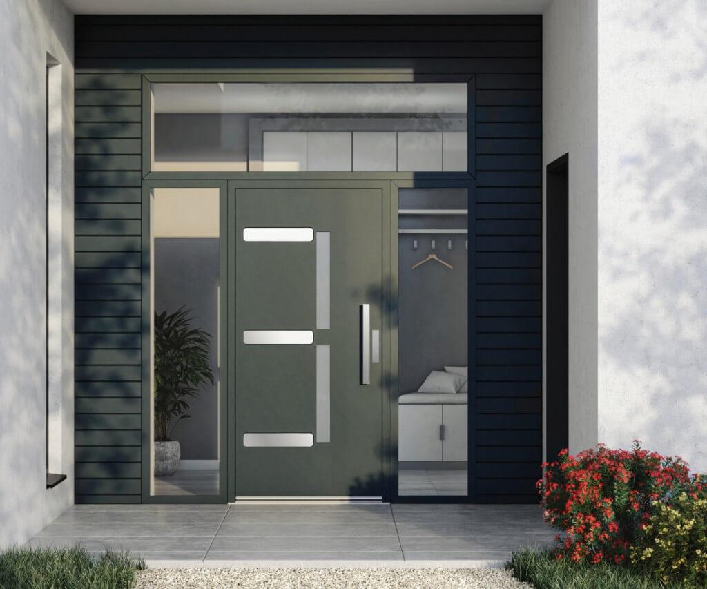 Ciemnozielone drzwi zewnętrzne vetrex model symetrie