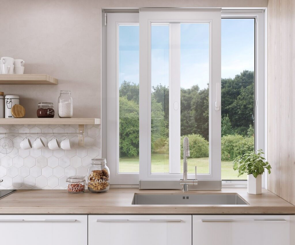 Białe okna uchylno-przesuwne vetrex