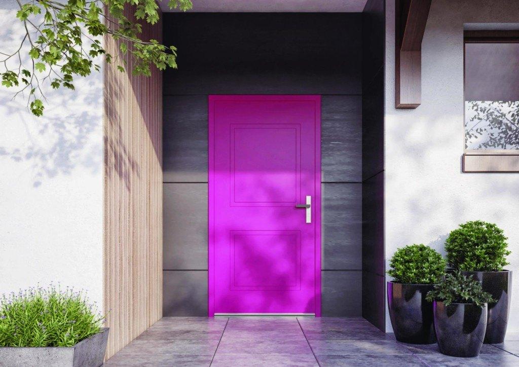 Drzwi zewnętrzne w kolorze różowym vetrex