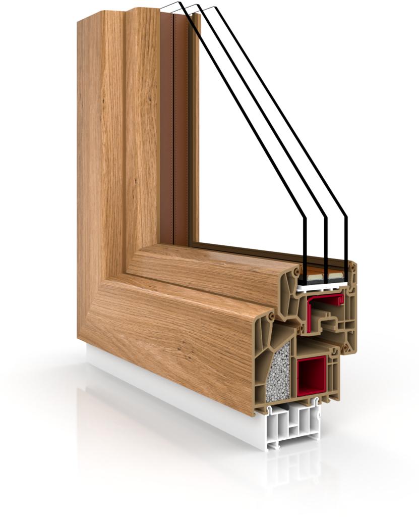 Przekrój przezprofil okna, czyli jego elementy konstrukcyjne.